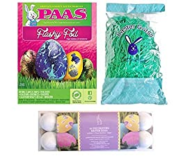 PAAS Flashy Foil Easter Egg Decorating Kit Bundle - 3 Items - PAAS Flashy Foil Egg Decorating Kit, 12 Eggs (non-perishable) for Decorating , and Easter Grass