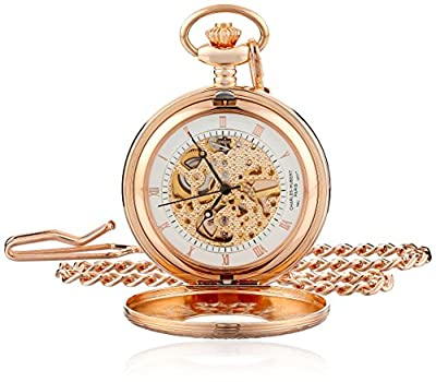 Charles-Hubert Pocket Watch 3806 Rose Gold Plated Half Hunter