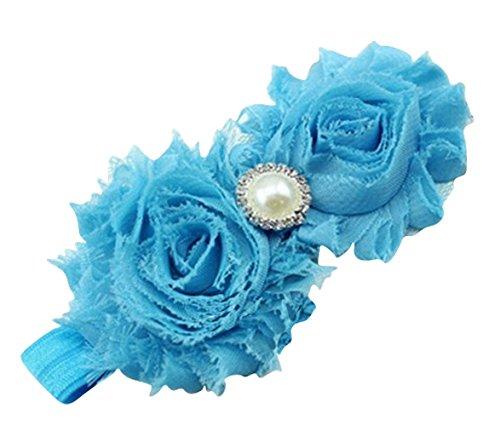 PinkXenia Newborn Infant Flower Pearl Shabby Baby Aqua Blue Soft Elastic Headband