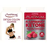 Triple Strength Raspberry Ketone Extreme Platinum Blend - High Performance Body Fat Fighter Slimming Pills providing a daily serving of 600mg Pure Raspberry Ketones, 400mg Pure Caffeine and 200mg Pure African Mango + Detox Colon Cleanse- Vegetarian Capsules