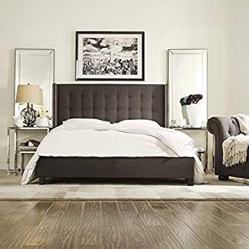 Home Creek Valencia Linen Wingback Bed