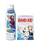 Disney Frozen Safety First Pure Sun Defense Sunscreen Spray, SPF 50, 6 fl oz Plus Bonus Disney Frozen Adhesive Bandages, 20 count