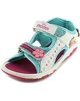 New Girls/Childrens White Frozen Twin Strap Touch Fasten Sandals - White/Multi - UK SIZES 7-13