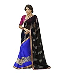 Divine Black And Blue Chiffon Saree With Blouse