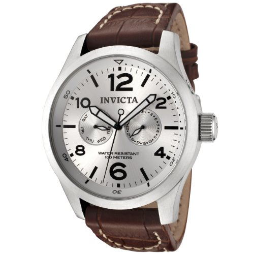 Invicta Men&#8217;s 0765 II Collection Silver Dial Brown Leather Watch