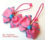 2x Girls Pink with Blue Edge Grosgrain Ribbon Hair Elastics Bobbles