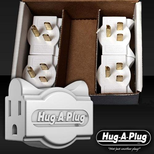 Hug-A-Plug Grounded Dual Outlet 15 A Adapter Plugs - One Box Of 4 Plugs - Hot Pink