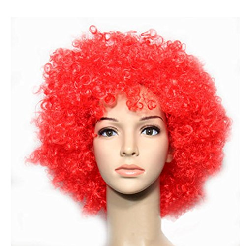 Party Cosplay Quirky Wig Periwig Wild-curl up Curly Clown Costumes, Red