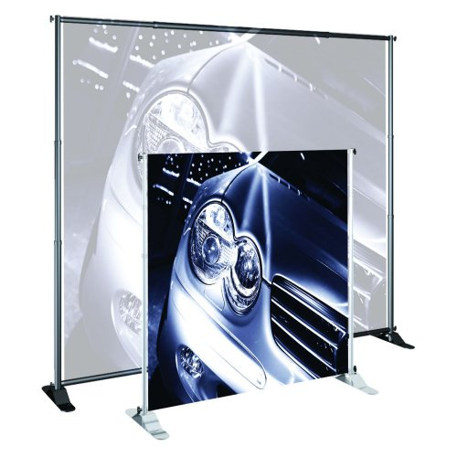 "Large Banner Stand Color: Satin Silver, Size: 52"" - 96"""