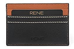 Rene Genuine Leather Black Color Card Holder with 5 slots
