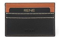 Rene Genuine Leather Black Color Card Holder with 5 slots