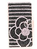 【Yoco Joy】docomo らくらくスマートフォン3 F-06F用 手帳型 ピンク カバー ケース【フルダイヤ 花大】プレゼント付 ロゴ入
