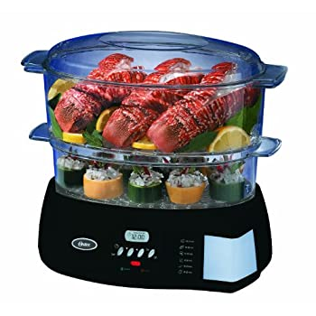 ER/ETC)unbeam/Oster/etc) Oster Digital Food SteamerDigital Food Steamerin Black...2-tiered 6.1-quart-capacity steamer creates instant steam for preparing all kinds of food; Delay cooking up to 12 hours; LCD display with 95-minute timer; Auto keep-war...