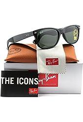 Ray-Ban RB2132 New Wayfarer Sunglasses Black w/Green (901L) RB 2132 901L 55mm Authentic