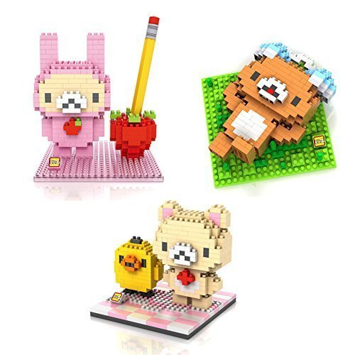 GRHOSE LOZ RilakKuma Set Pack of 3 Diamond Nanoblock Educational Toy 860pcs