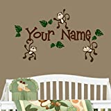Monkeys with Personalized Name Nursery Wall Decal Set Great Gift (Brown)