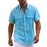 Two pockets lined Aqua short sleeve linen shirt.