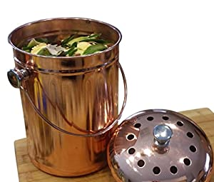 Kitchen Countertop Compost Bin Crock Container - Decorative Copper Coated Stainless Steel 1 Gallon - BONUS Includes 4 Replacement DUAL Charcoal Filters