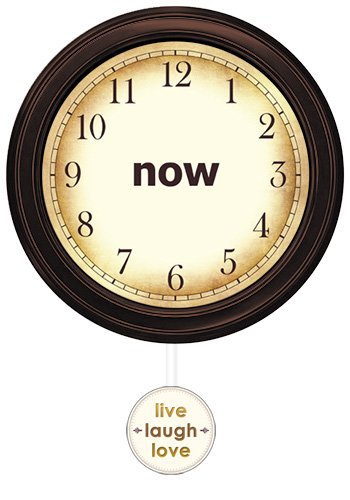 Now Clock (Espresso - Live Laugh Love) Beautifully crafted Wooden Wall Clock with Swinging Pendulum no ticking sound
