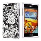 LG Optimus Showtime L86C White Protective Case By SkinGuardz - Rose Party