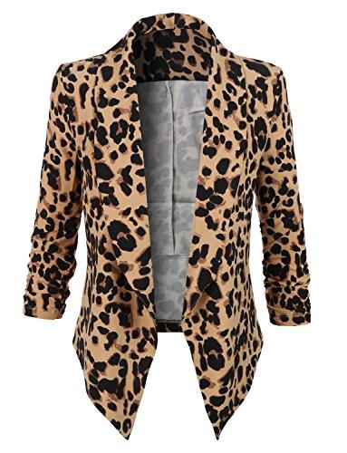 Kenliee Womens Ultra Lightweight Summer Open Front Draped Tuxedo Blazer RBKWJC2103_LEOPARD XX-Large