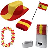 Sonia Originelli Fan Paket Fahne Flagge Schminkstift Cowboyhut Blumenkette Spanien Spain Flag SPA-SET-2