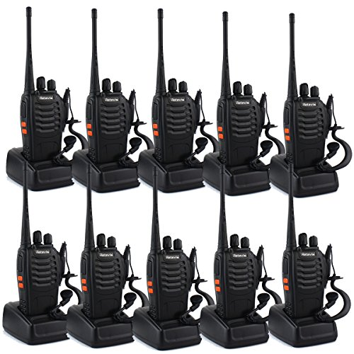 Retevis H-777 Two-Way Radio Long Range UHF 400-470 MHz Signal Frequency Single Band 16 Channels with Original Earpiece (Pack of 10)