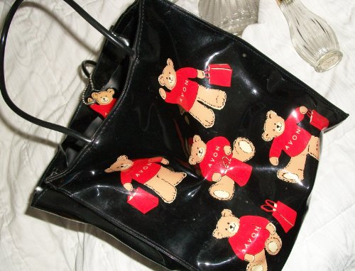 Avon Teddy Bear Tote Bag Black Patent Leather