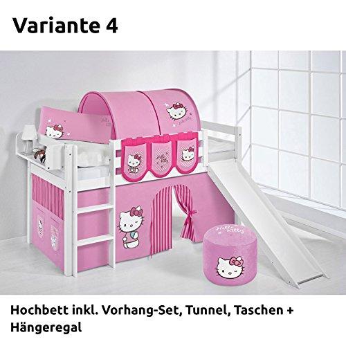 Hochbett Spielbett JELLE Hello Kitty Rosa mit Rutsche und Vorhang, weiß, Variante 4