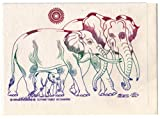 Rare Unique Vintage Asian Oriental Thai Traditional Art Mulberry Paper Values Handmade Postcards To Colour Design Elephant Family By Thailand