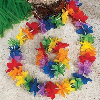Silk Rainbow Flower Lei (1 ct)