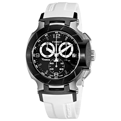 Tissot Men's T0484172705705 T-Race Black Chronograph Watch with White Rubber Strap