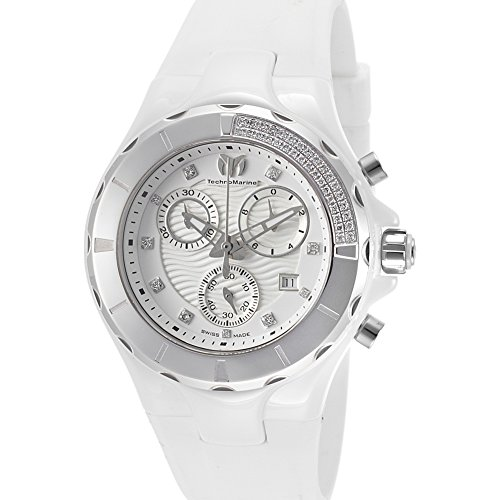 TechnoMarine Watches Womens Cruise Diamonds Chronograph Silicone Band Watch (Technomarine Techno Diamond compare prices)