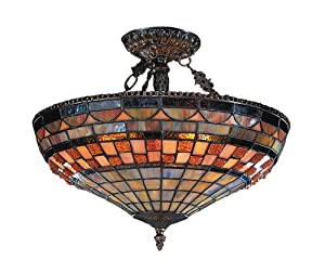 Elk 614-Cb Jewel Stone 3-Light Semi-Flush Mount, 14-Inch, Classic Bronze