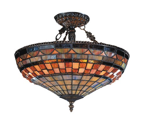 Landmark 614-CB Jewel Stone 3-Light Semi-Flush Mount, 14-Inch, Classic Bronze