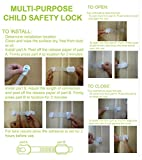 Multipurpose-Child-Safety-Lock-8-Pack-With-3M-Adhesive-Baby-Proofing-Safety-Latches-for-Fridge-Drawer-Cupboard-Toilet-Seat-Oven-Stove-and-Microwave-Re-adjustable-Limited-Time-Bonus-Gift-Double-Door-Lo