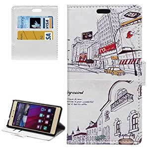 Crazy4Gadget City Background Pattern Horizontal Flip Magnetic Buckle Leather Case with Card Slots & Wallet & Holder for Huawei P8