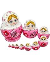 Magnifiques poupées russes en bois de tilleul Rose
