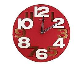 Tobway 3D Big Digital Modern Contemporary Home Office Decor Round Quartz Wall Clock,Red