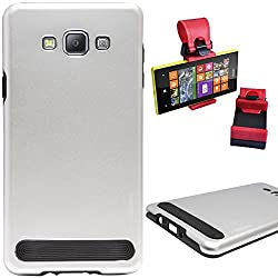 DMG Motomo Ultra Tough Metal Shell Case with Side TPU Protection for Samsung Galaxy A7 (Silver) + Car Steering Holder