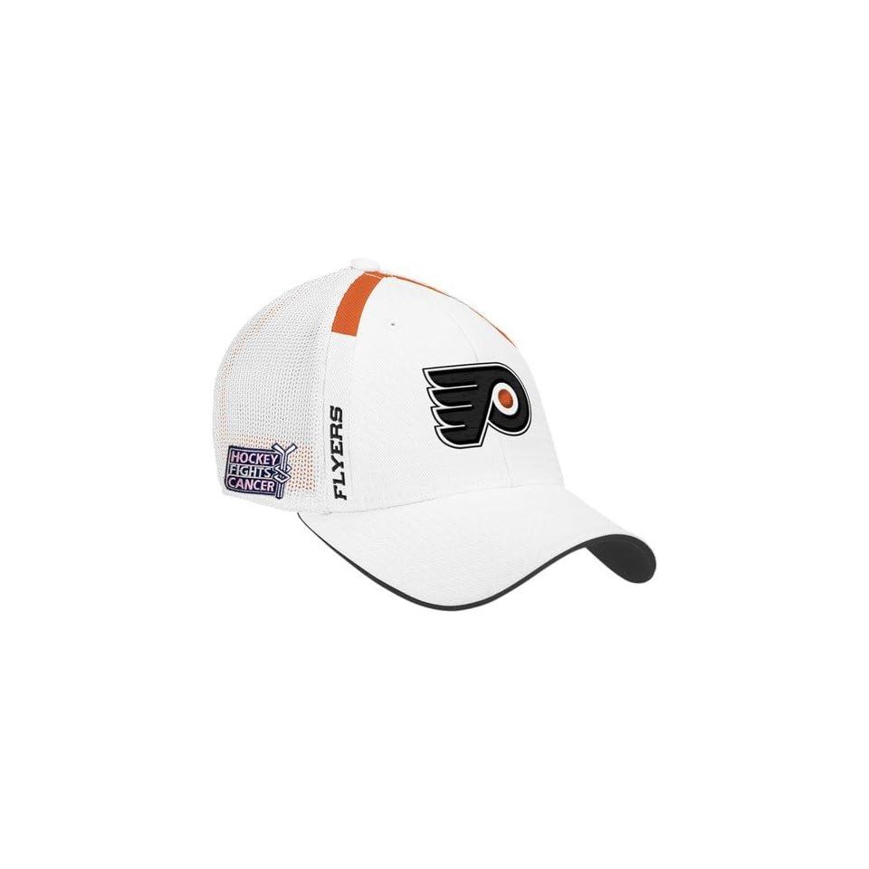 59e3c56e5cb Reebok Philadelphia Flyers White Hockey Fights Cancer Draft Day Flex Fit Hat