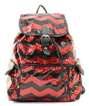 Chevron Sequin Backpack Red/blk
