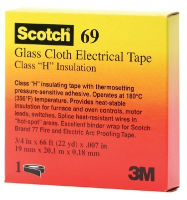 "3M Scotch 69 Glass Cloth Electrical Tape, 0 To 200 Degree C, 3000V Dielectric Strength, 66' Length X 1/2"" Width, White"