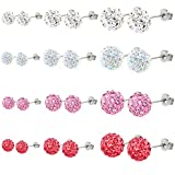 Charisma Sparkling Rhinestone Crystal Fireball Disco Ball Pave Bead Stud Earrings Hypoallergenic Inspired Assorted Color Pack