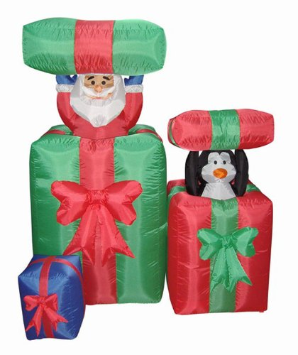 5' Airblown Inflatable Animated Peek-A-Boo Santa Lighted Christmas Yard Art