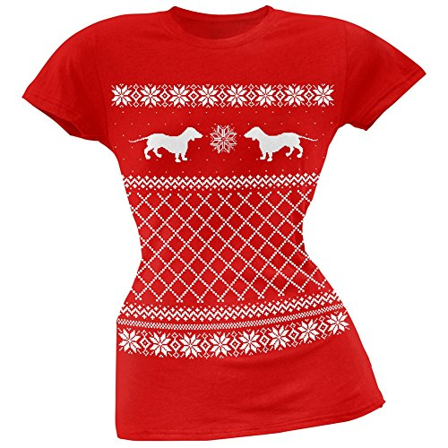 Dachshund Ugly Christmas Sweater Red Juniors Soft T-Shirt - Small