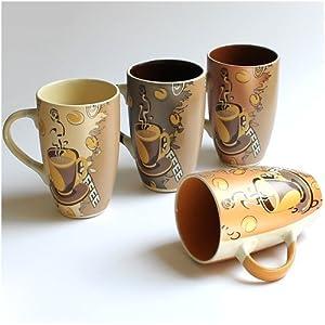 gro e tassen becher kaffeetassen kaffeebecher modern coffee aus keramik 4er set je 12 cm 350. Black Bedroom Furniture Sets. Home Design Ideas
