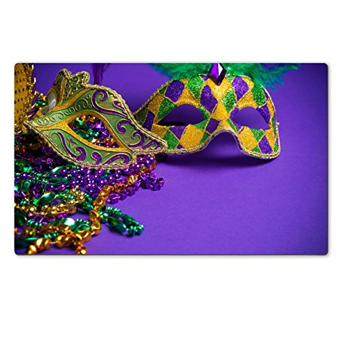 [Luxlady Natural Rubber Large TableMat Image ID 25892127 Festive Grouping of mardi gras venetian or carnivale mask on a purple] (Mardi Gras Masks Template)