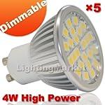 5X GU10 Dimmable 4W LED Warm White 24...