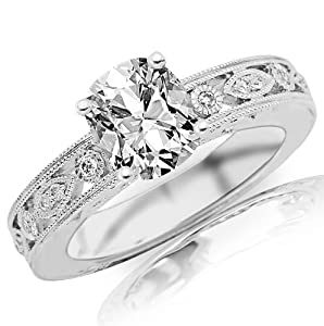 0.68 Carat Cushion Cut / Shape 14K White Gold Antique / Vintage Bezel Set Designer Diamond Engagement Ring ( D-E Color , SI2 Clarity )